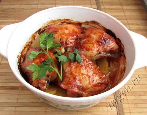 курица запеченная с картофелем в духовке