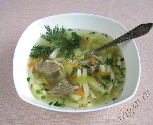 Суп на мясном бульоне с лапшой рецепт