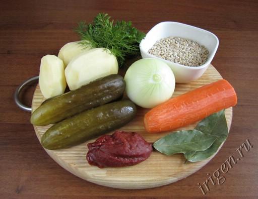 фотография ингредиентов для рассольника