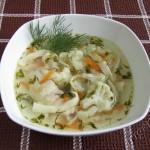 фотография куриного супа с цветной капустой и лапшой