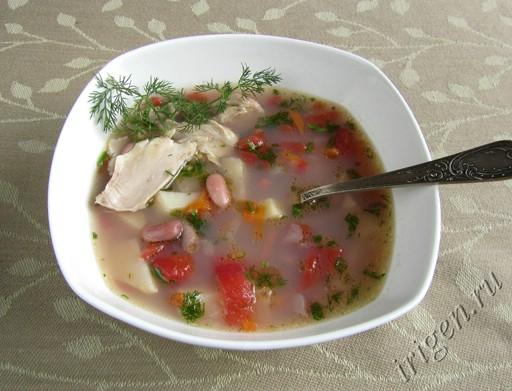 фотография супа куриного с фасолью в мультиварке