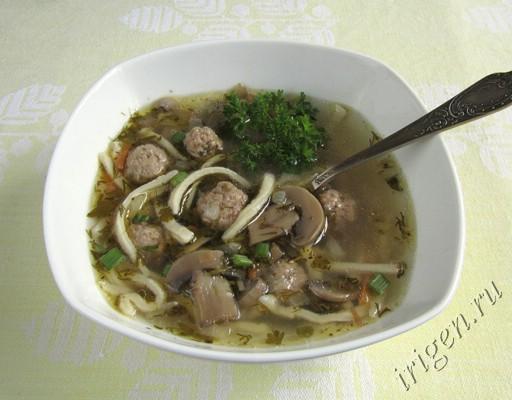 фотография супа грибного с фрикадельками и домашней лапшой