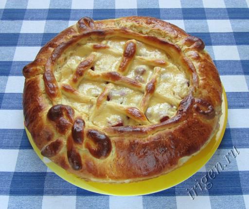 фото дрожжевой пирог с малиной и яблоками