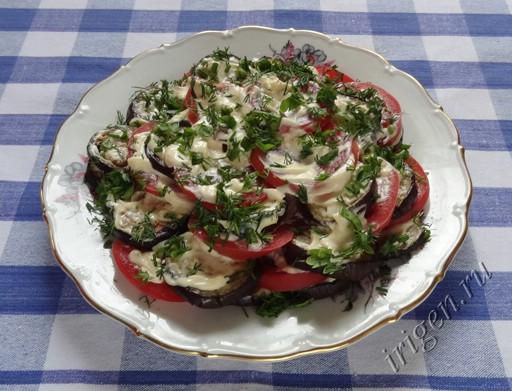 фотография закуски из баклажан и помидоров