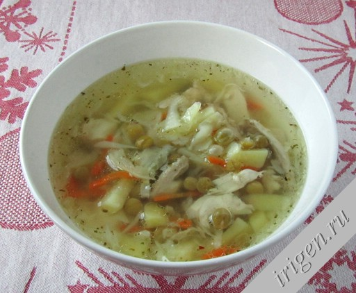 суп с зеленым горошком и капустой рецепт