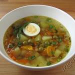 суп овощной с зеленым горошком фото