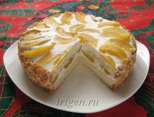 торт с творожным кремом и персиками фото