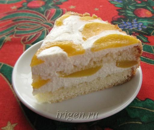 торт творожно-персиковый фото