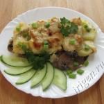 рыба запеченная с картофелем и грибами фото