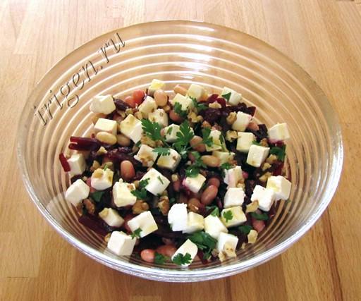 салат из фасоли и свеклы с фетой фото