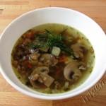 суп чечевичный с грибами фото