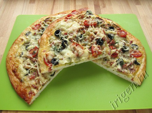 пицца с кабачками и беконом фото