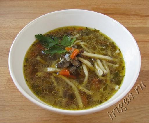 суп с грибами и домашней лапшой фото