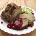 свинина в рукаве с брусничным соусом фото