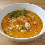 сырный суп с овощами и клецками фото