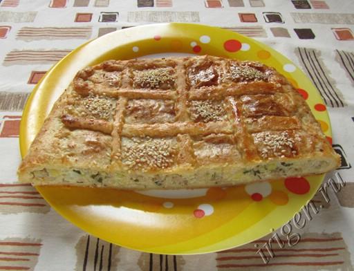 пирог мясной из творожного теста фото