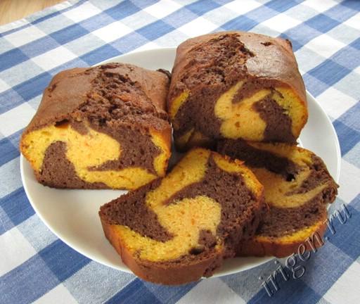 двухцветный кекс с тыквой фото