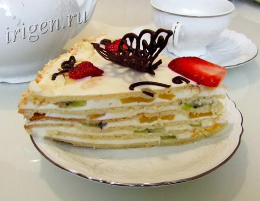 торт со сливочным кремом в разрезе фото