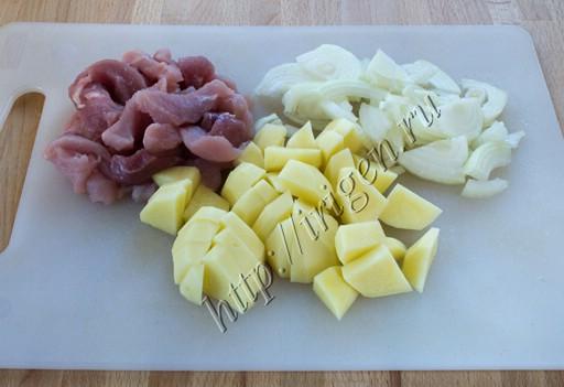 подготовка мяса и овощей