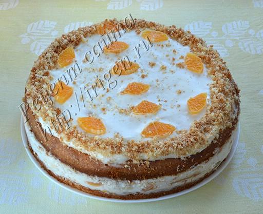 торт из апельсинового бисквита с йогуртовым  кремом