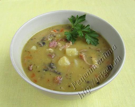 суп гороховый с грибами в мультиварке