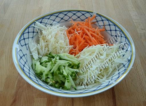 подготовка овощей для салата