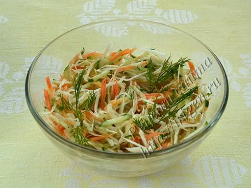 салат из капусты с огурцом и сельдереем