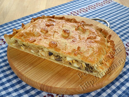 пирог с капустой и грибами рецепт с фото