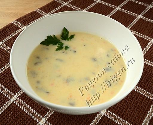 сырный суп-пюре с маринованными грибами