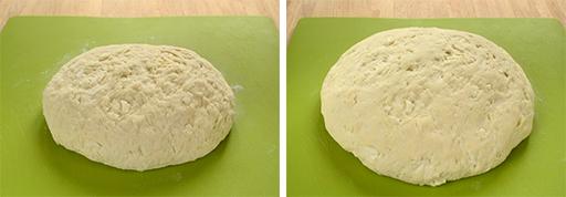 тесто после замеса и после расстойки