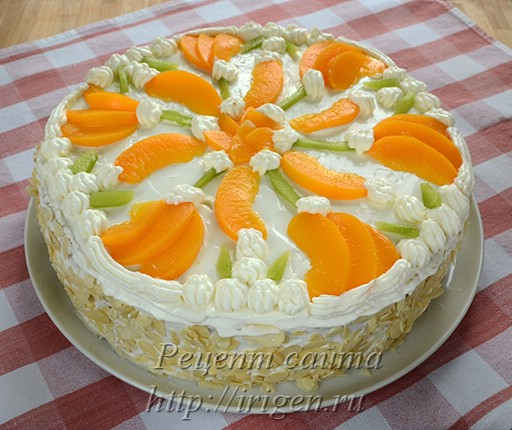 бисквитный торт с прослойкой Нежный персик