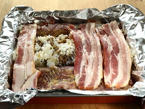 приготовление свиных балычков с рисом и грибами