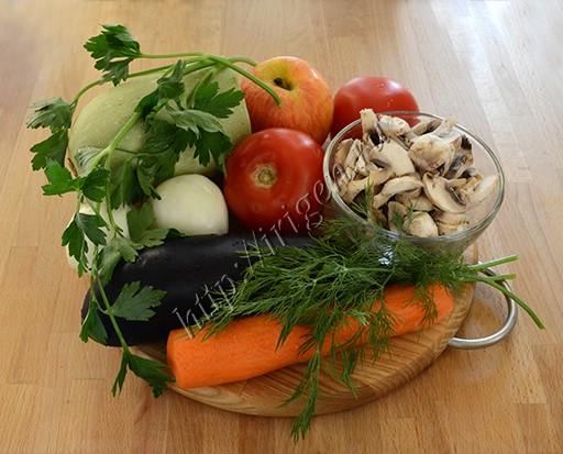 ингредиенты для овощного ассорти