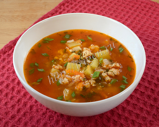 суп с куриным фаршем