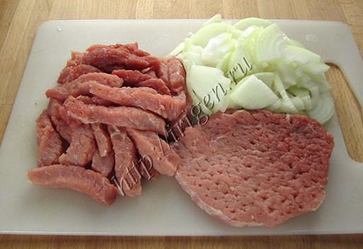 нарезка мяса и лука