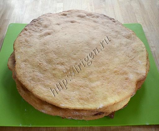 выпеченные коржи для торта