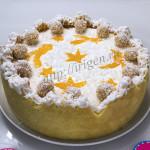 Торт персики на снегу со сливочно-персиковой заливкой