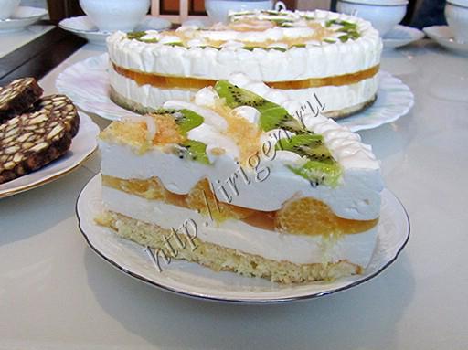 торт-суфле с апельсиновой прослойкой