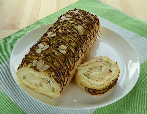 рулет бисквитный с творожно-масляным кремом