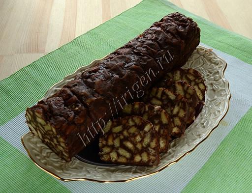 сладкая колбаска с шоколадом