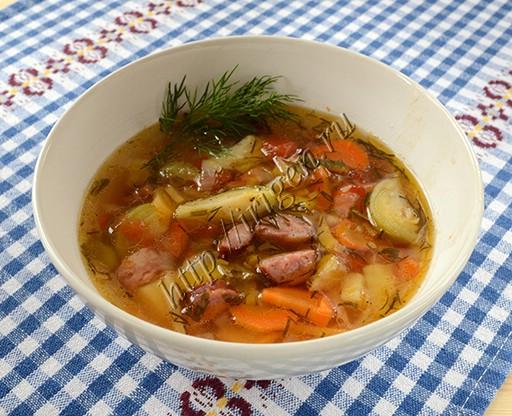 овощной суп с колбасками-2