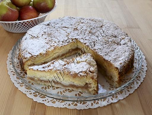 насыпной творожно-яблочный пирог