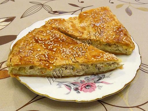 пирог с куриным фаршем из творожного теста