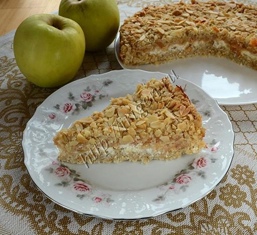 творожно-яблочный пирог с геркулесом