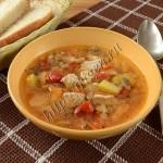 суп с индейкой, грибами и перловкой