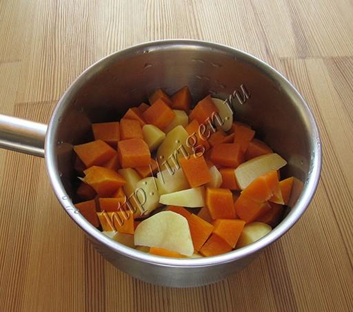 приготовление пюре из тыквы и картофеля