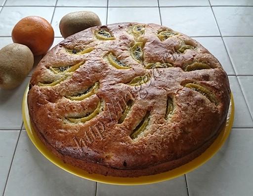 пирог сметанный с апельсинами и киви