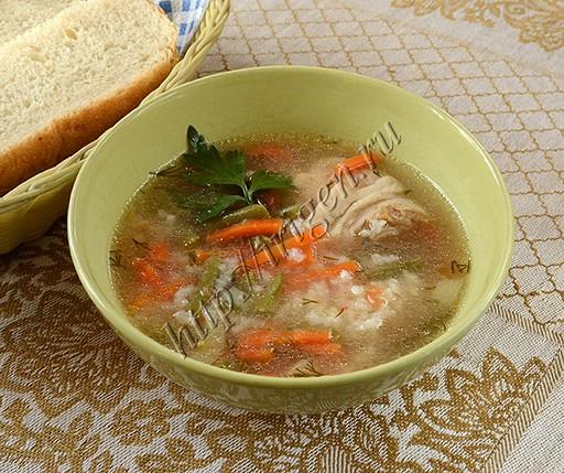 суп куриный с рисом и стручковой фасолью