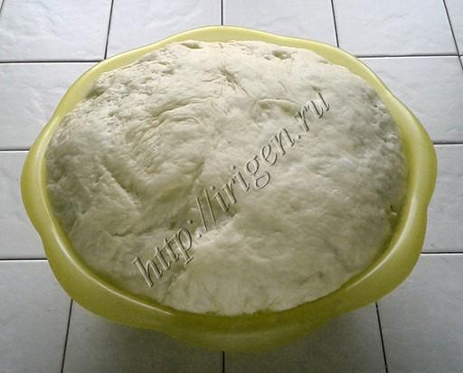 подошедшее заварное дрожжевое тесто