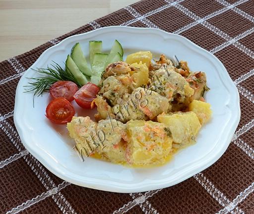 курица с картофелем в сливках